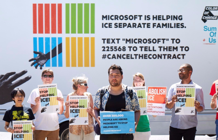 Workers and activists turned out at Microsoft offices around the country yesterday