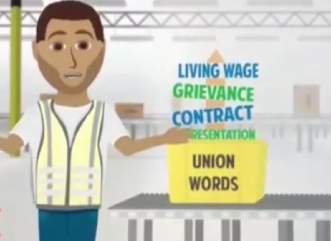 Still from an Amazon anti-union training video showing a list of 'union words'