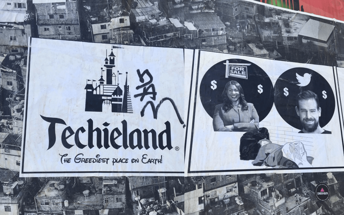 Photo of a 'Techieland' mural in San Francisco