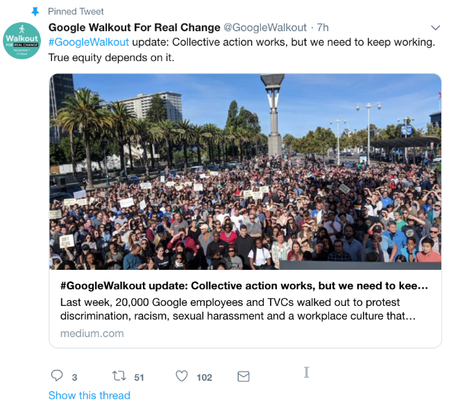 Screenshot of a tweet from the @GoogleWalkout Twitter account