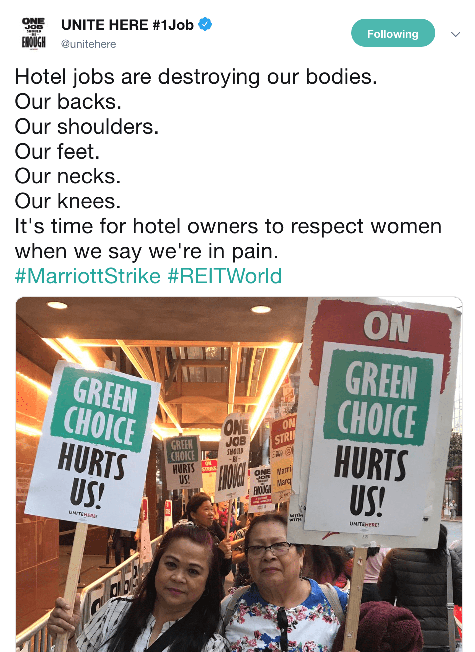 Screenshot of a tweet from the @unitehere Twitter account