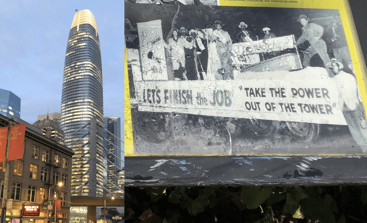 Photo of a mural in San Francisco saying, 'take the power out of the tower'