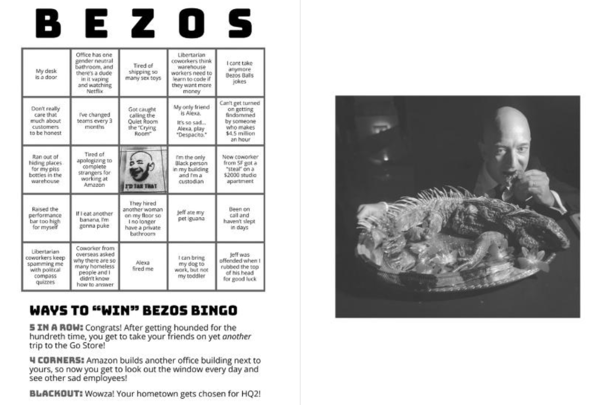 A page from the first issue of Bug Report, featuring 'Bezos Bingo'