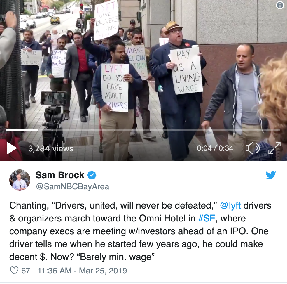 Lyft drivers protest at the Omni Hotel in San Francisco