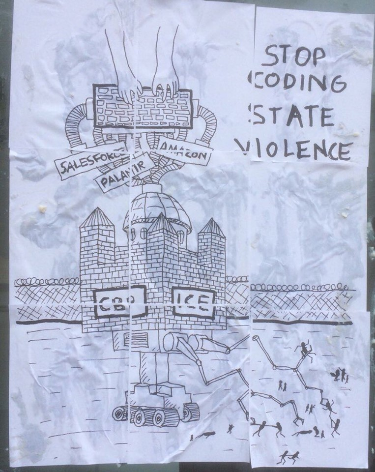A poster saying 'Stop coding state violence'