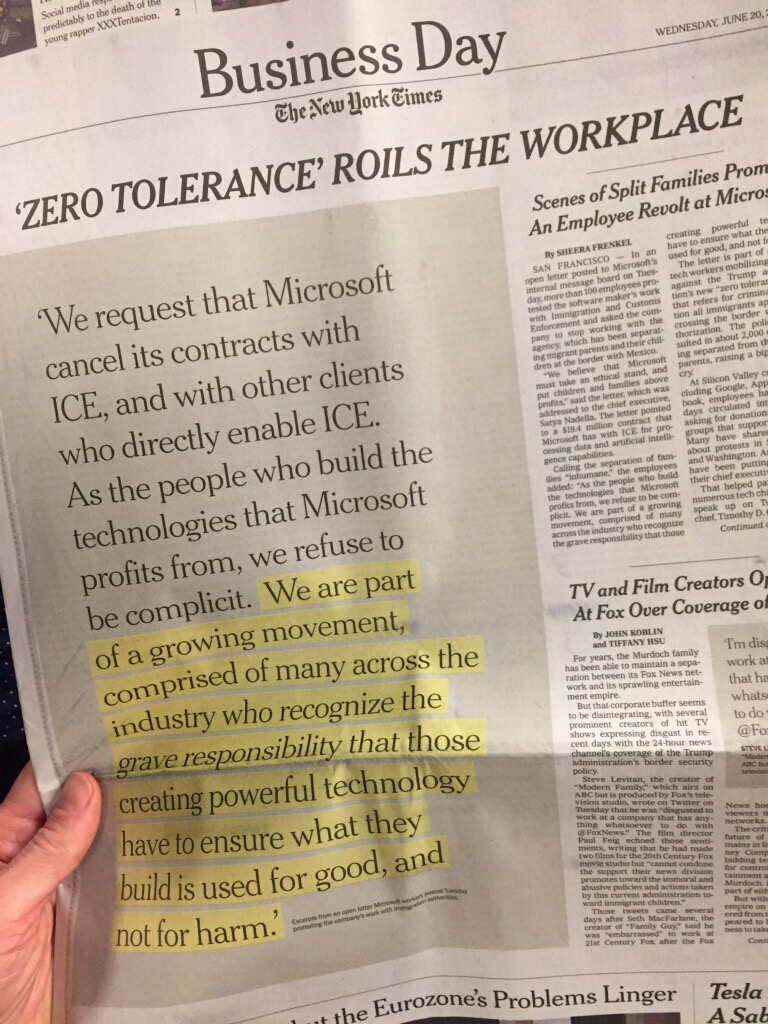 New York Times article about Microsoft employees demanding no collaboration with ICE.