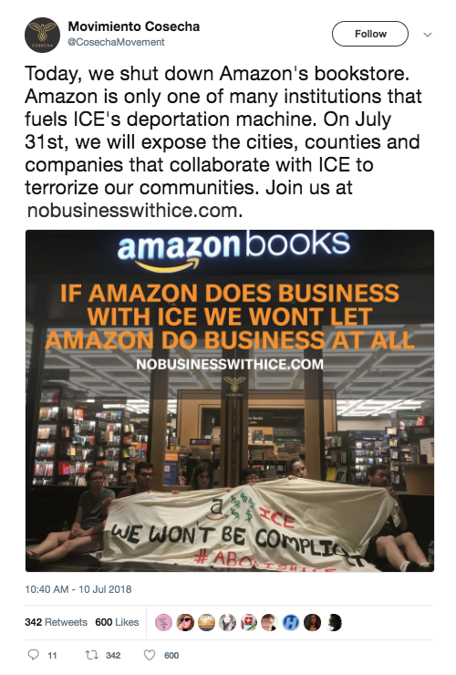 Screenshot of a tweet from @CosechaMovement about nobusinesswithice.com