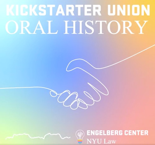 A graphic of a handshake, with the text 'Kickstarter Union Oral History'