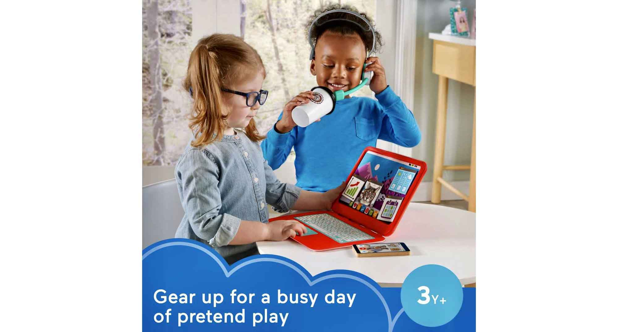 An ad for Fisher-Price My Home Office: Gear up for a busy day of pretend play