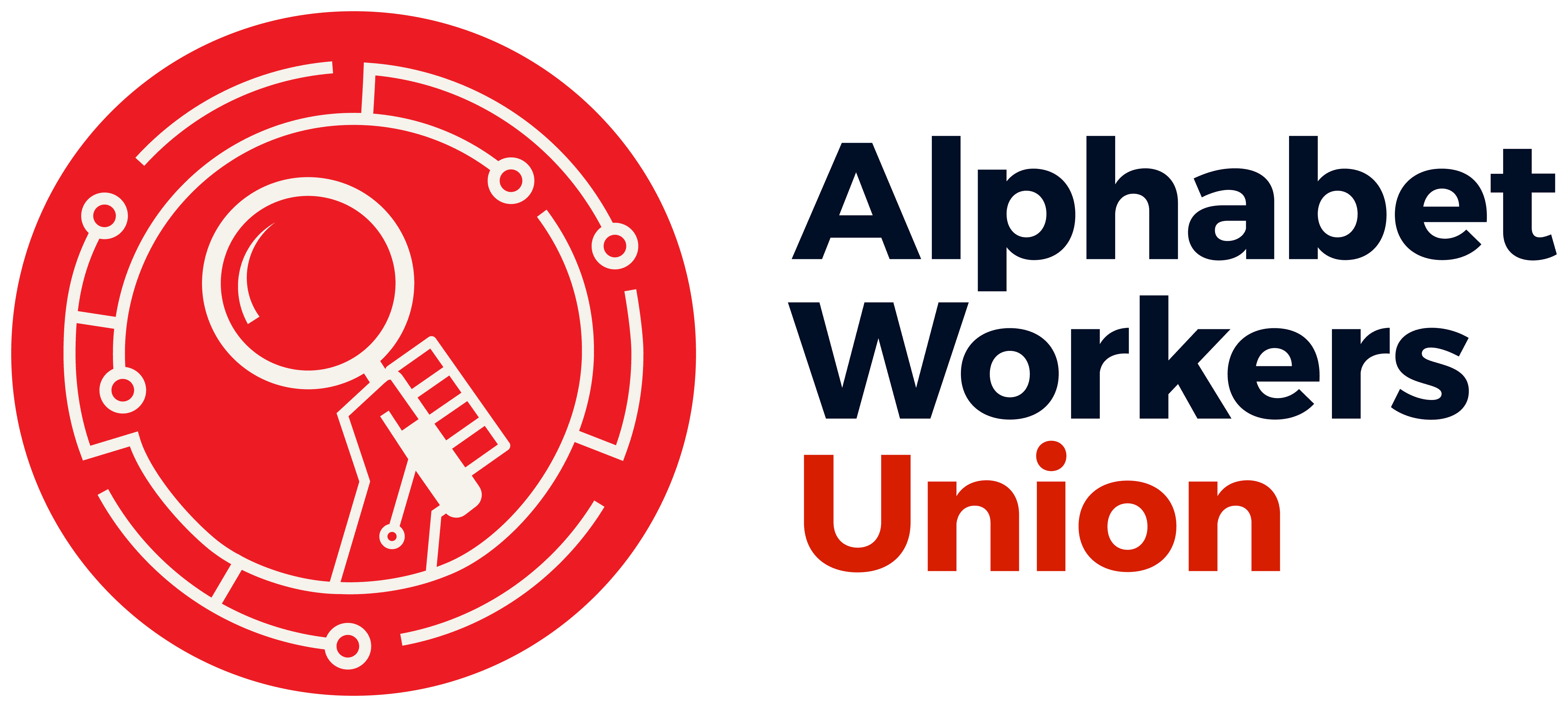 A logo for the Alphabet Workers Union logo with a hand holding a magnifying glass in red, black, and white