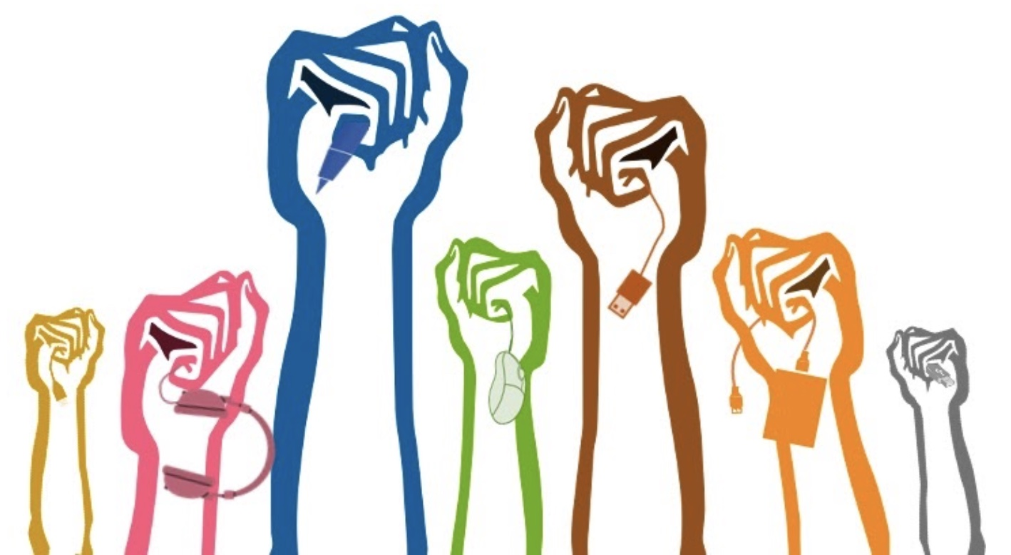 An illustration of seven fists raised up, each holding a kind of tech peripheral or cord or plug