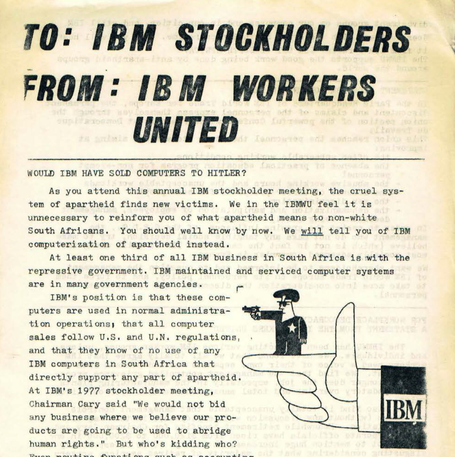 Scanned leaflet with the headings TO: IBM STOCCKHOLDERS, FROM: IBM WORKERS UNITED, WOULD IBM HAVE SOLD COMPUTERS TO HITLER?