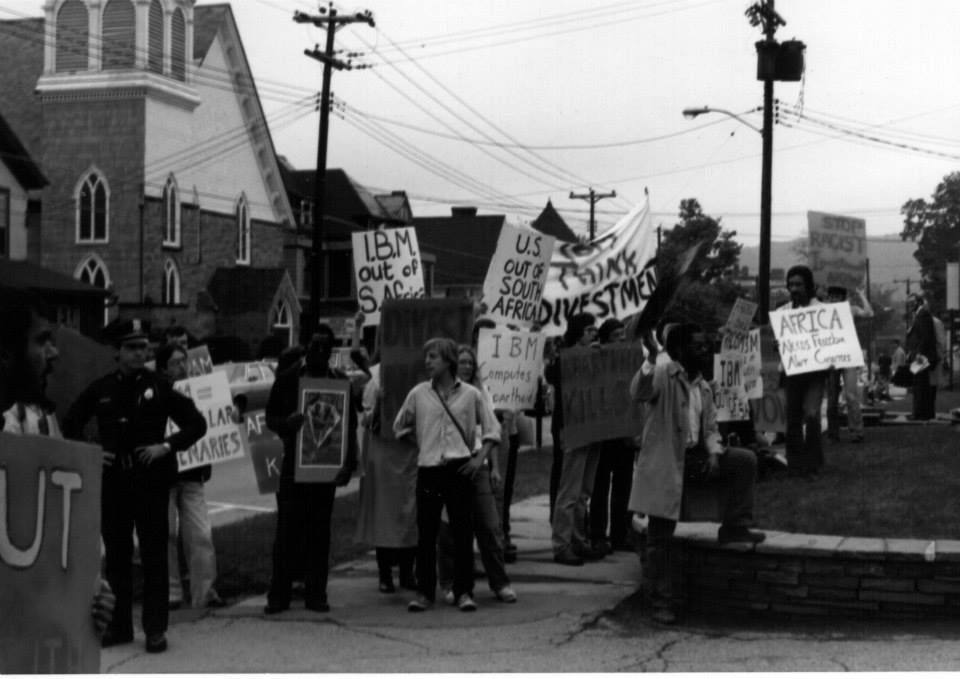 Black-and-white photograph of another anti-apartheid protest