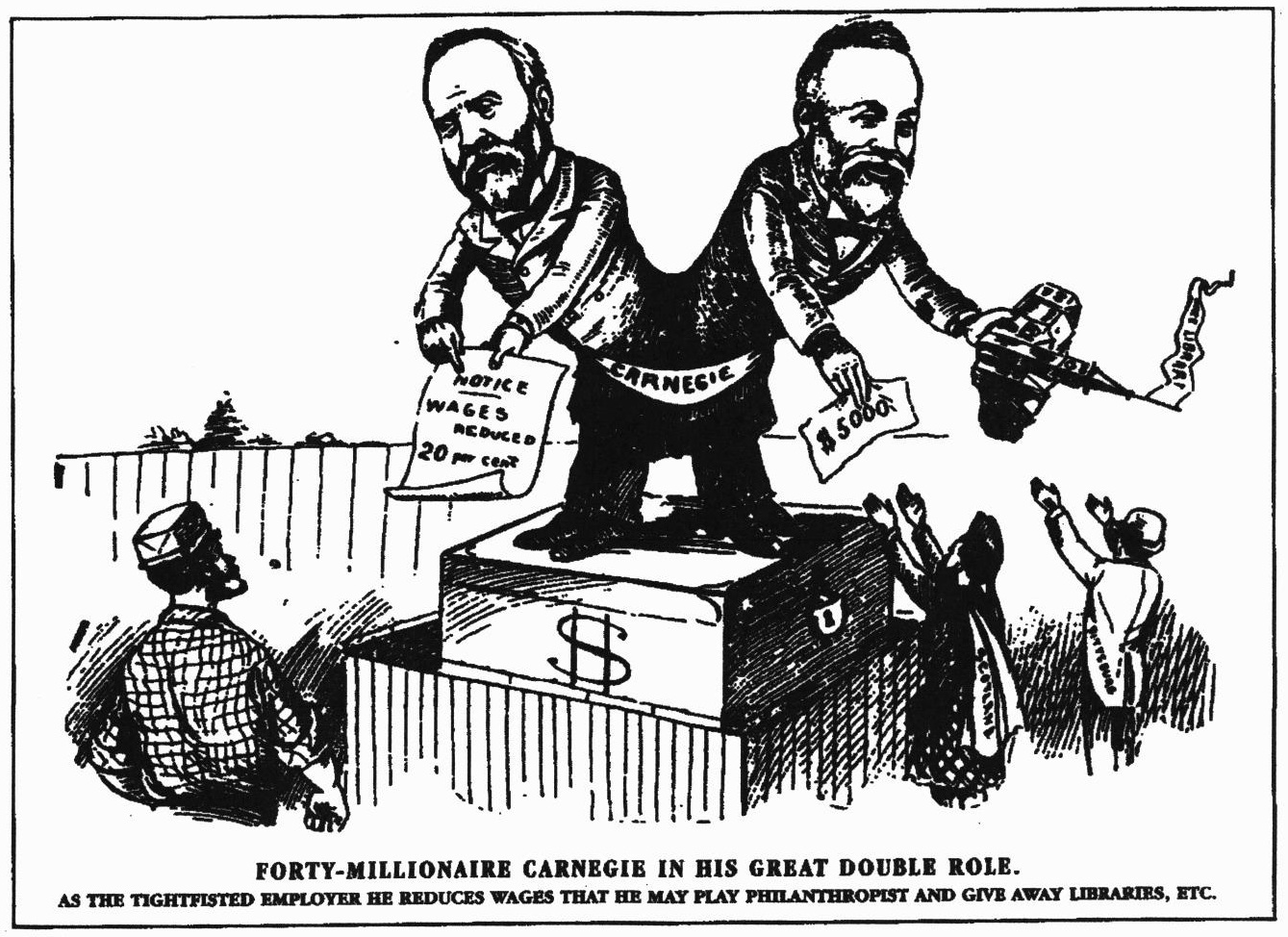 A cartoon of Andrew Carnegie as a two-bodied serpent-man, one half taking wages from a worker and the other giving donations to charity